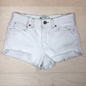 Free People White Denim Cut Off Shorts